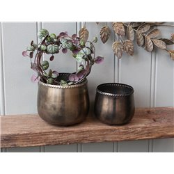Flower pot w. pearl edge set of 2