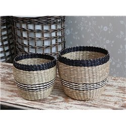 Baskets w. stripes set of 2