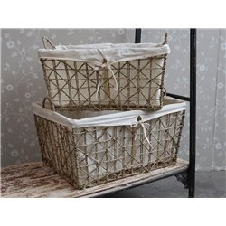 Baskets w. linen set of 2