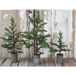 Fleur (X19) Pine tree w cones zinc pot