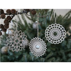 Ornament (X19) w. glitteredge set of 3