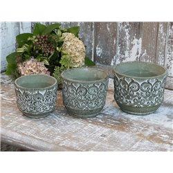 Flower pot (S20) w. pattern