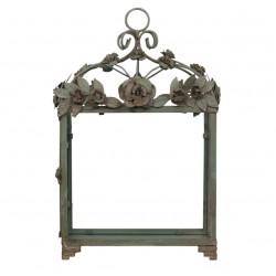 Lampion Metalowy Chic Antique Zielony z Różami