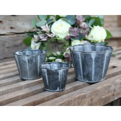 Flower pot w. curves set of 3 for deco