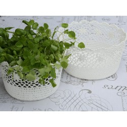 Basket lace white H15/D27 cm