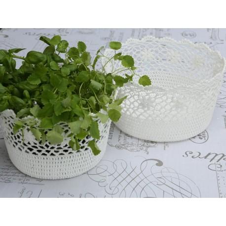 Basket lace white H15/D27 cm