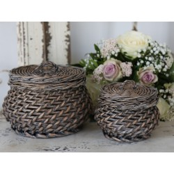 Basket w.lid French grey H14/D16 cm