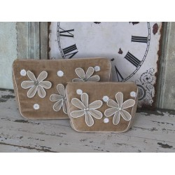 Toilet bag velor w.flowers powder