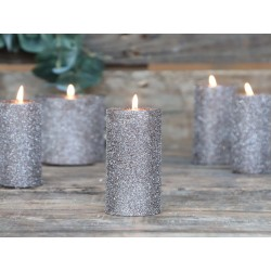 Rustic pillar candle (X20) w. glitter