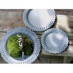 Dish in zinc for candles D19 cm