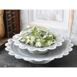 Dish on foot w.lace edging antique zinc