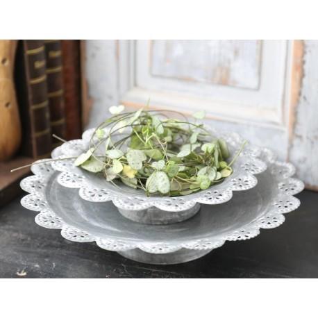 Dish on foot w.lace edging antique zinc