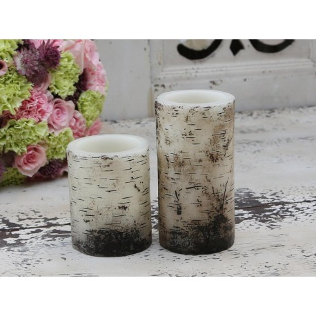 "Battery candle ""Wood"" H15/D7,5 cm"