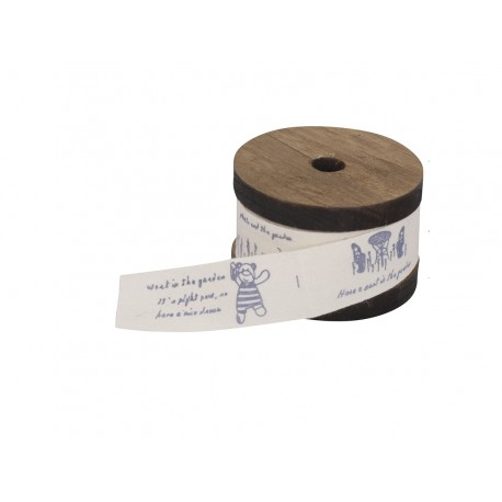 Ribbon w.text on wooden spool