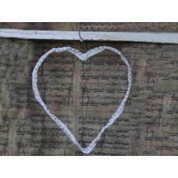 Heart hanger w.lace H30 cm