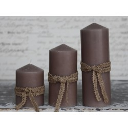 Candle 7x10 cm flax
