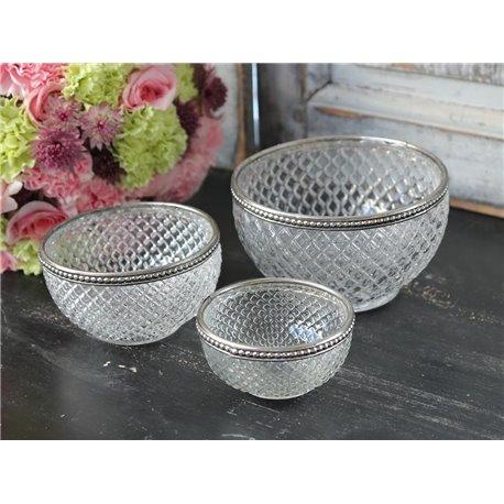 Bowl w.pearl edge glass H4,5/D8,5 cm