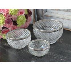 Bowl w.pearl edge glass H6/D10,5 cm
