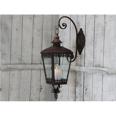 Lantern wall w.holder antique rust