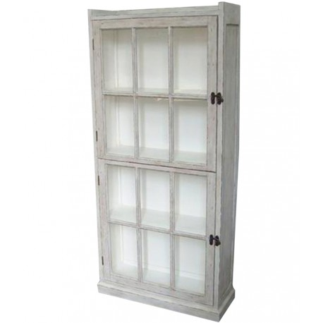Cabinet w.glass door & 4 shelves sand