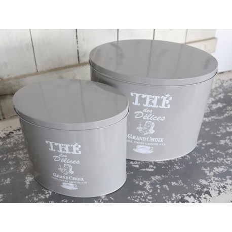 Boxes set of 2 antique grey oval