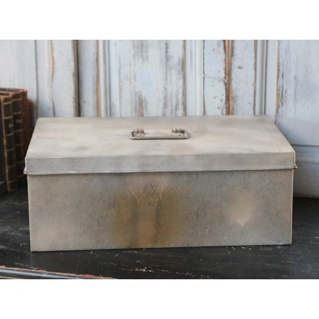 French box w.lid antique zinc