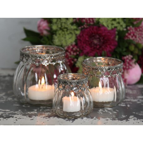 Candle holder w.silver decor glass H9 cm
