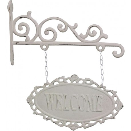 "Sign ""welcome"" antique white H27x30 cm"