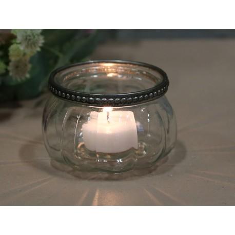 Tealight holder w. pearl edge glass
