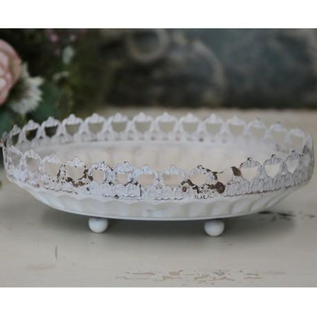 Centrepiece w.lace edge antique cream