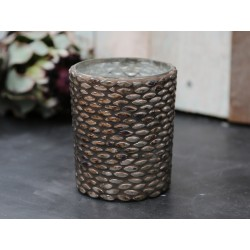 Tealight holder w. mosaic antique gold