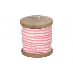 Ribbon w.stripes pink/white