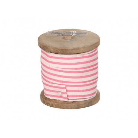 Ribbon w.stripes pink/white