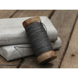 Jute ribbon on wooden spool coal