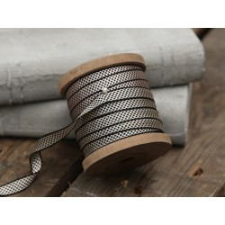 Ribbon on wooden spool black/grey