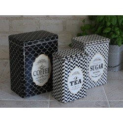 Box w. pattern set of 3 cream/black