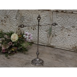 Stand w. 2 arms antique silver brass
