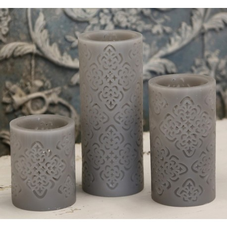 """Battery candle """"Flower"""" grey"""