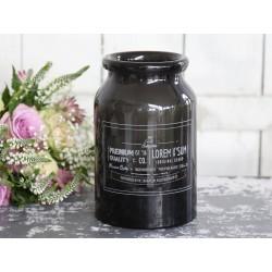 Vase w.print vintage black H19/D12 cm