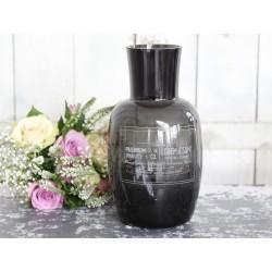 Vase w.print vintage black H25/D13 cm