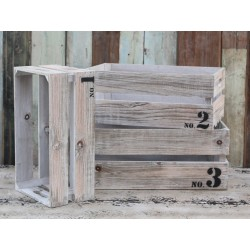 Old wooden boxes w.print set of 3