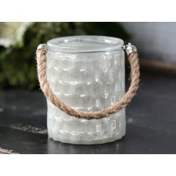 Tealight candlestick w.rope opal