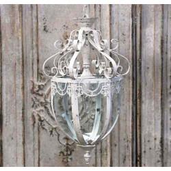 Lampa Metalowa Chic Antique Przeszklona