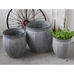 French flower pots antique zinc