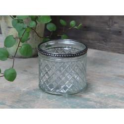 Glass flower pot w.pearl edge