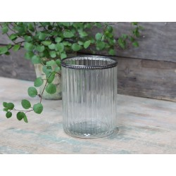 Glass flower pot w.pearl edge & grooves