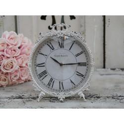 Clock w.feet antique white H29/D25 cm