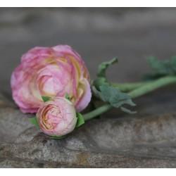 Kwiaty Sztuczne Jaskier Różowo-Kremowy