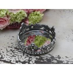 Mirror dish w.simili edge antique silver