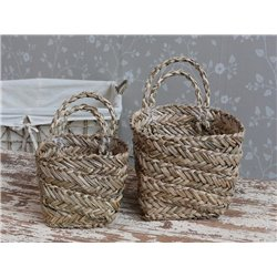 Baskets w. handle set of 2